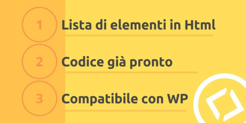 lista di elementi in codice html con shortcode per wordpress