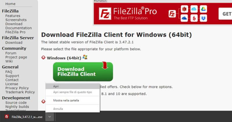 scaricare filezilla per caricare sito web sul dominio