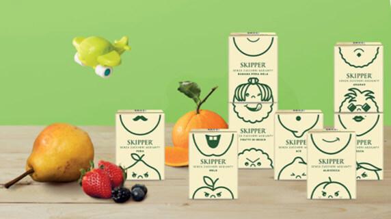 Cos'è il packaging del succo skipper zuegg con faccina per bambini