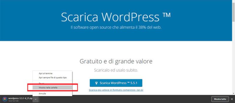come installare wordpress aprire i file