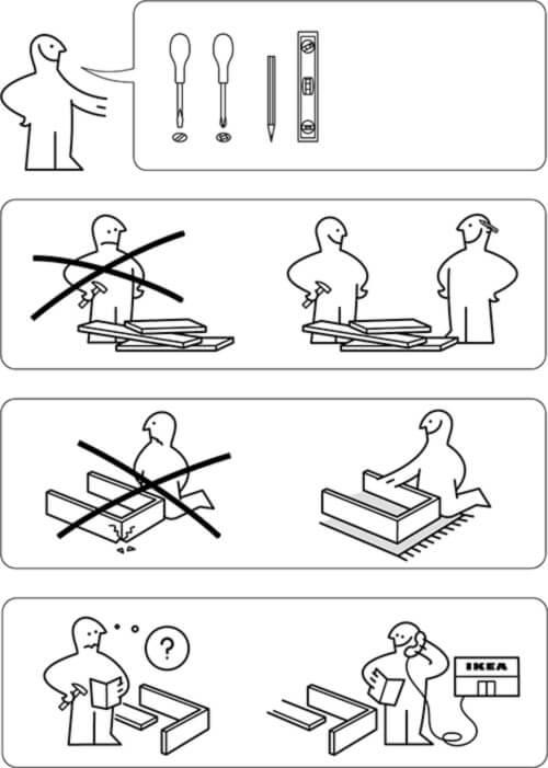 come sono fatte le istruzioni ikea di montaggio mobili