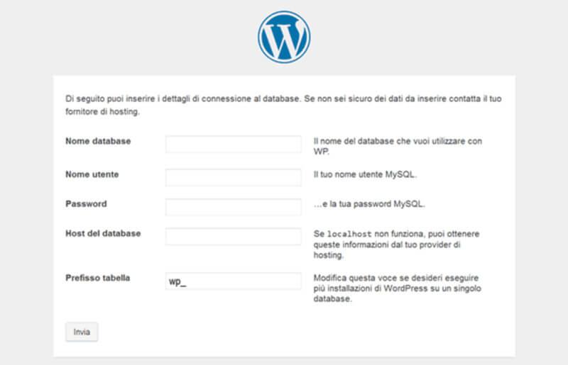 configurare il database wp