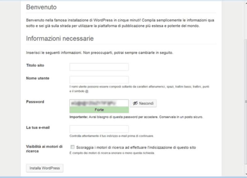 creazione utente installazione wordpress