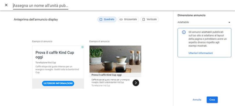 schermata creazione annuncio banner google adsense