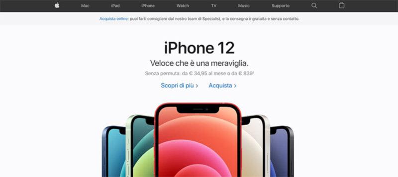 schermata iniziale sito web Apple