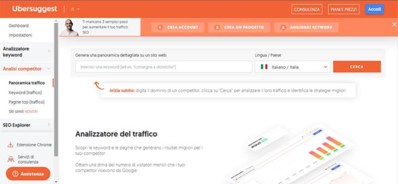 dashboard ubersuggest per cercare parole chiave nel sito web dei competitor