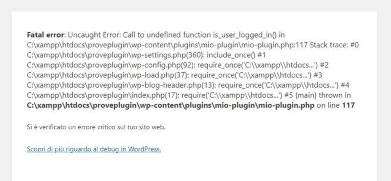 errore Call to undefined function is_user_logged_in()