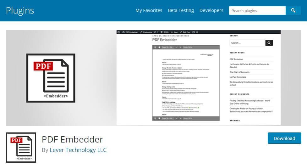 plugin pdf embedder per inserire PDF