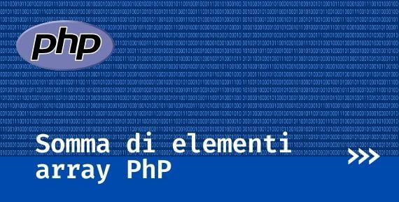somma di elementi di un array in php con array_sum()